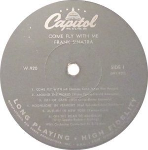 Frank Sinatra Come Fly With Me Record Label - 300