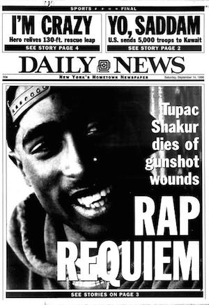 Tupac Shakur shot dead headline
