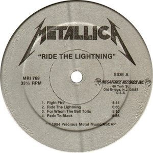 Metallica Ride The Lightning Label