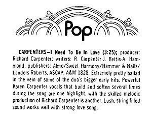 Billboard Carpenters I Need To Be In Love Single Review June 05 1976