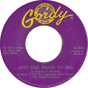 The Temptations Ain't Too Proud To Beg Single Label - 300