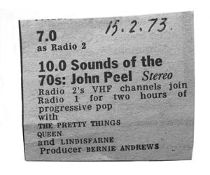 Queen On Air Peel Session Clipping - 300